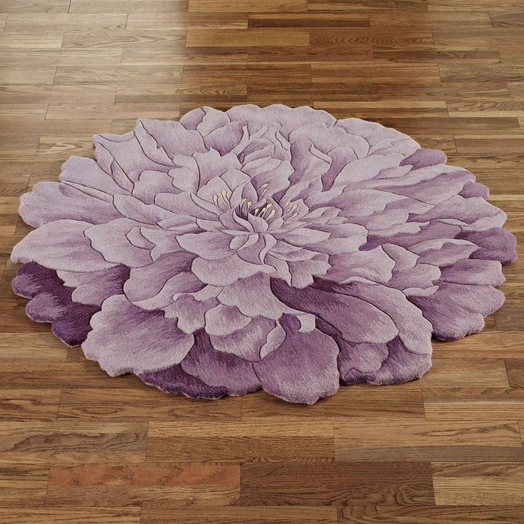 Delia Bloom Flower Shaped Round Rugs Round Rugs Mauve