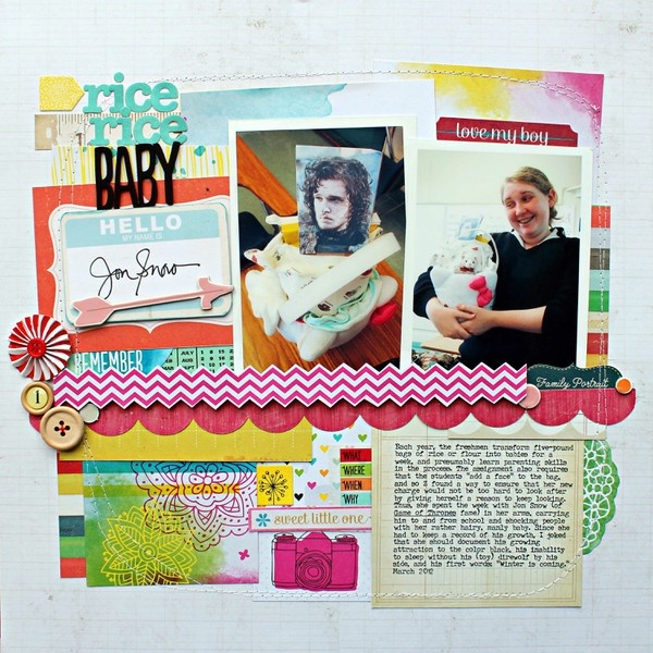 Like the machine stitching on this layout: Rice Baby, Scrapbook Inspiration, Scrapbook Galleries, Jill Sprott, Scrapbook Idea, Peas Bookmarks, Scrapbook Layout, Sprott 2Peasinabucket, Rice Rice