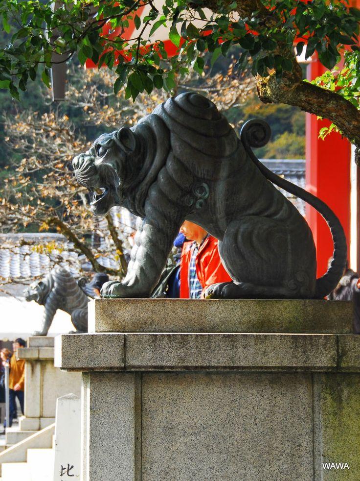 鞍馬寺 狛犬の場所に虎の銅像