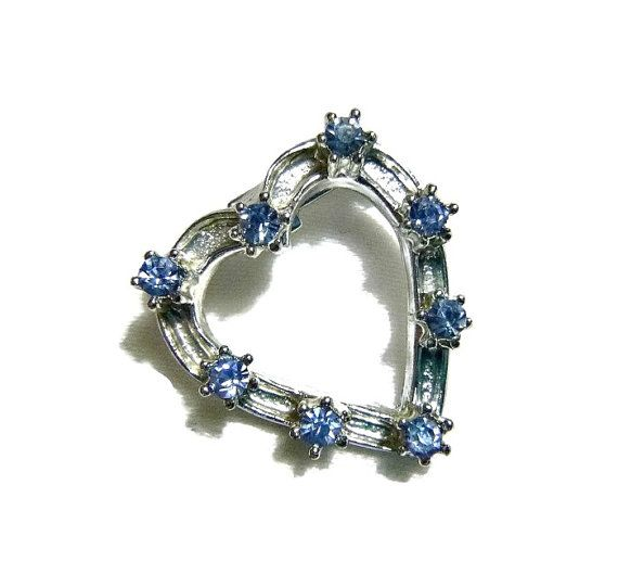 Blue Rhinestone Heart Brooch Vintage by PopcornVintageByTann