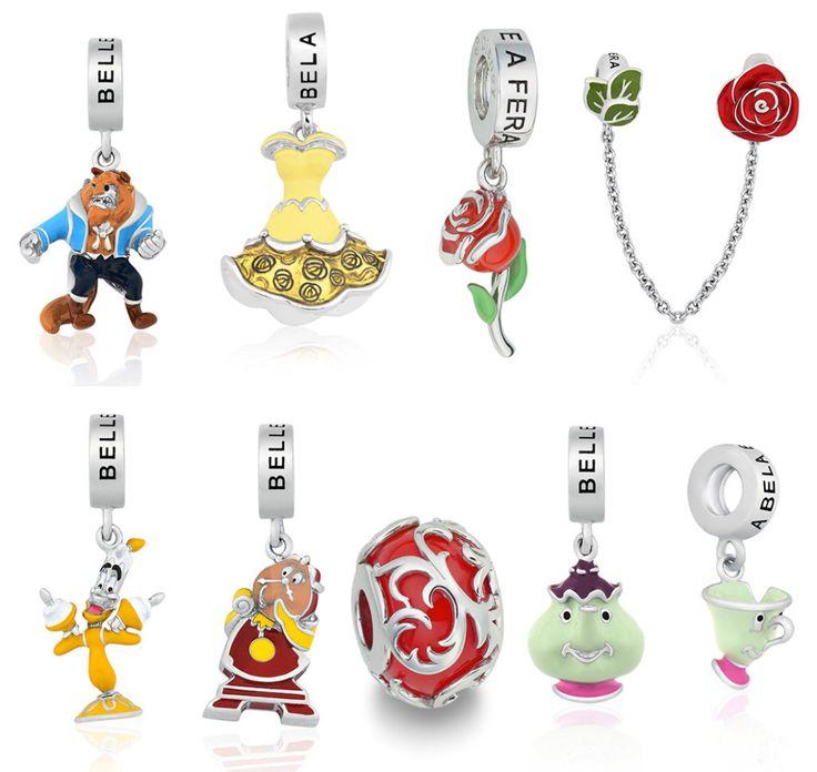 Pingentes estilo charm da Pandora do filme da Disney A Bela e a Fera, da Life by Vivara!