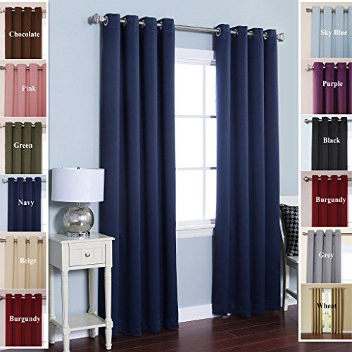 TWOPAGES Solid Stainless Steel Nickel Grommet Triple Weaved Polyester Drapes  Navy Blackout Curtains 52 W X