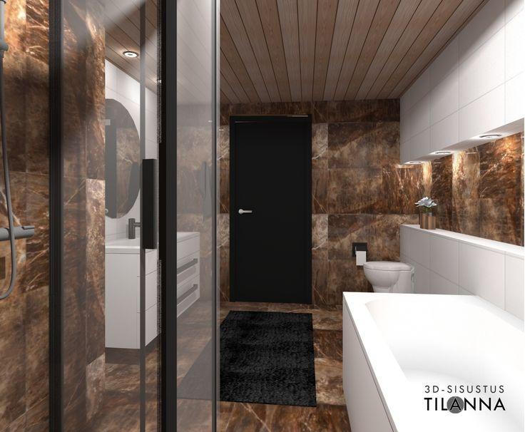 Kylpyhuoneen 3D-sisustussuunnitelma/ marmorimainen ruskea laatta, pyöreä peili, seinä wc,  suorareunainen tervaleppäpaneeli, valkoiset kiintokalusteet, valkoinen kylpyamme, musta väliovi/ 3D-sisustus Tilanna