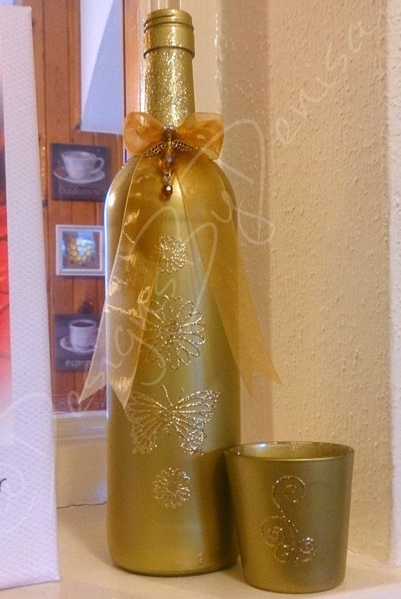 Gold Accents Home Decor Upcycled Wine Bottle by DesignsByDenisa