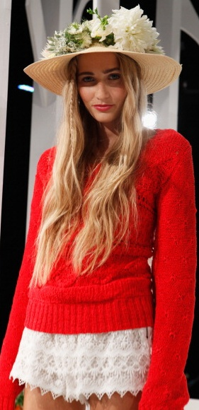 Cherry red @candela nyc Spring 2013 #MBFW