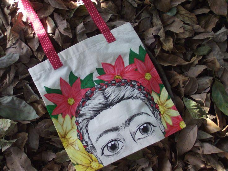 Totebag bolsa de tela frida kahlo,muy especial =3