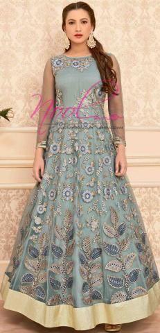 Net Silk Salwar Kameez Grey Anarkali Gown Semi Stitched BZ5426D81464