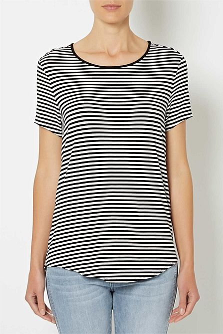 Stripe Short sleeve Split Hem