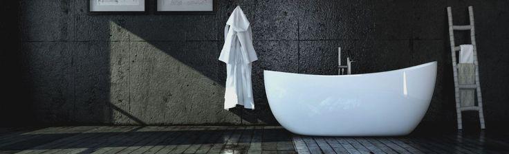 Wanna wolnostojąca Ravon Ambiente w klasycznej białej odsłonie, prezentuje się fantastycznie we nowoczesnych minimalistycznych wnętrzach