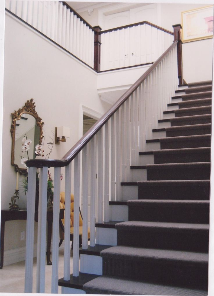 Painted Staircase With White Oak Pickets And Dark Stained