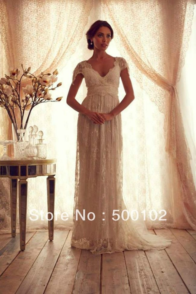 Anna Campbell Glamorous V Neck Beaded Cap Sleeve Empire Maternity Wedding From Reliable Lace