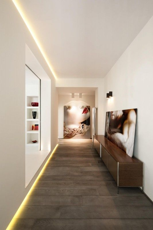 Rome Contemporary Hallway Design By Carola Vannini Architecture - *love the baseboard accent lighting feature
