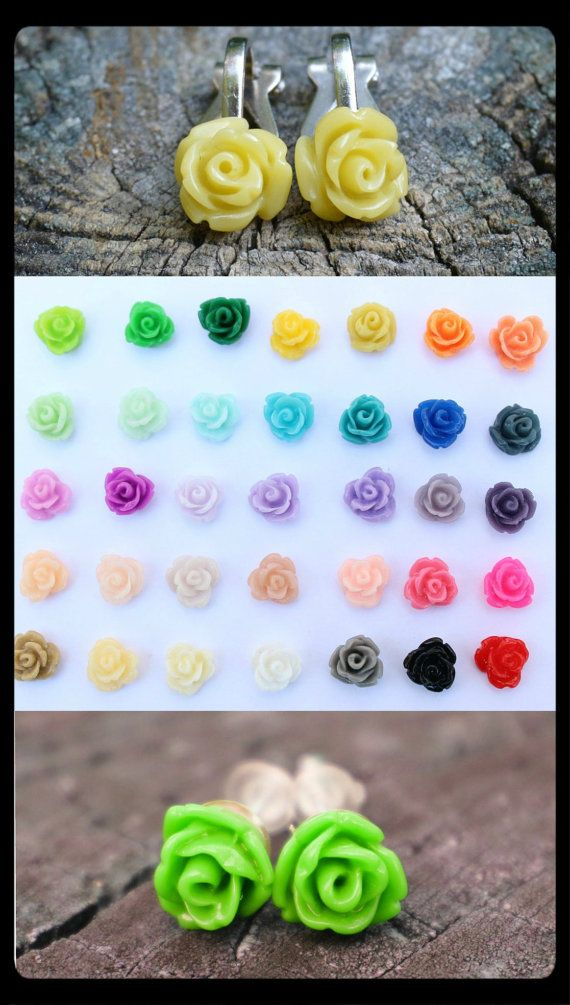 Rose Earrings    Mini Bud width is 7mm  Great size for small kids and adults. Choose your amount.  You can get just 1 or up to 50 pairs. If you