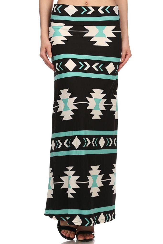 Mint Tribal Print Maxi Skirt