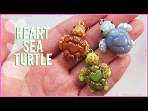 Tutorial: Heart Sea Turtle polymer clay charms || Collab with Heather Wells - YouTube