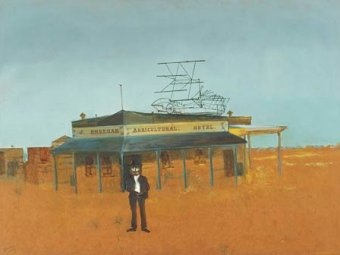 Sidney Nolan - Agricultural Hotel, 1948. I like the sparseness and the colour of his work, and the people (where there are any), who always seem very alone within the landscape.