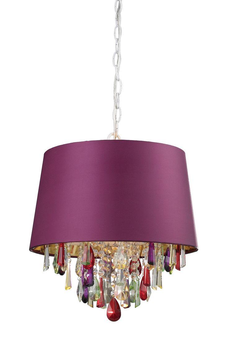 elk lighting sterling purple drum pendant light with crystal drops - Drum Pendant Lighting