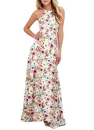 f90315ede0 Romacci Women s Sleeveless Halter Neck Maxi Dress Vintage Floral Print  Backless Beach Long Dresses S-5XL