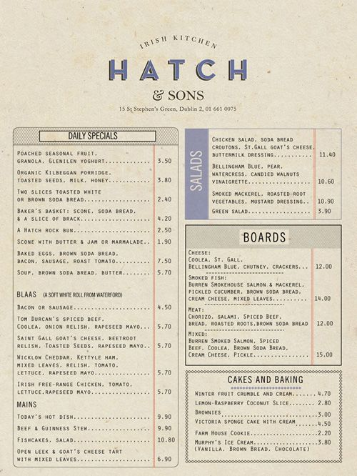 Hatch pdf beautiful restaurant menu designs