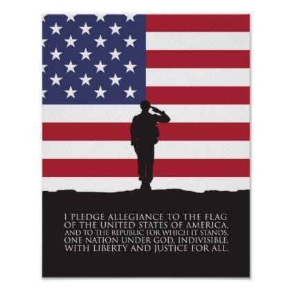 #stripes - #US Flag Soldier  Pledge of Allegiance Poster