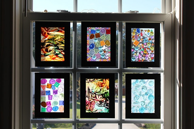 Picture frames, white glue, glass beads and acrylic paint. Creativity is limitless!