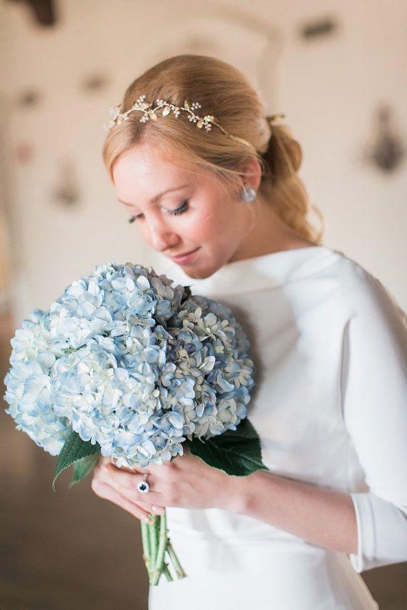 Matrimonio foglia fascia perla copricapo vite di capelli di Elibre