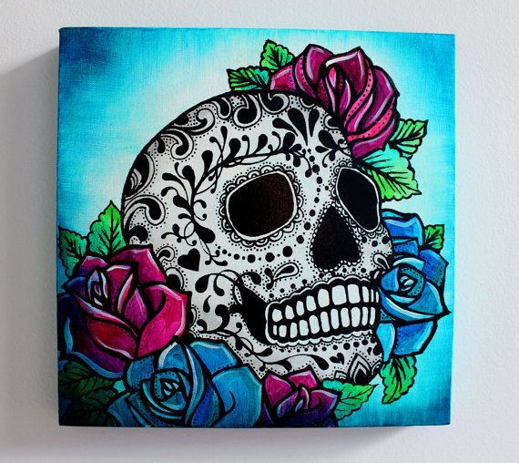 Sugar Skull Screen Print and Painting on Canvas 12 by MadLoveShop