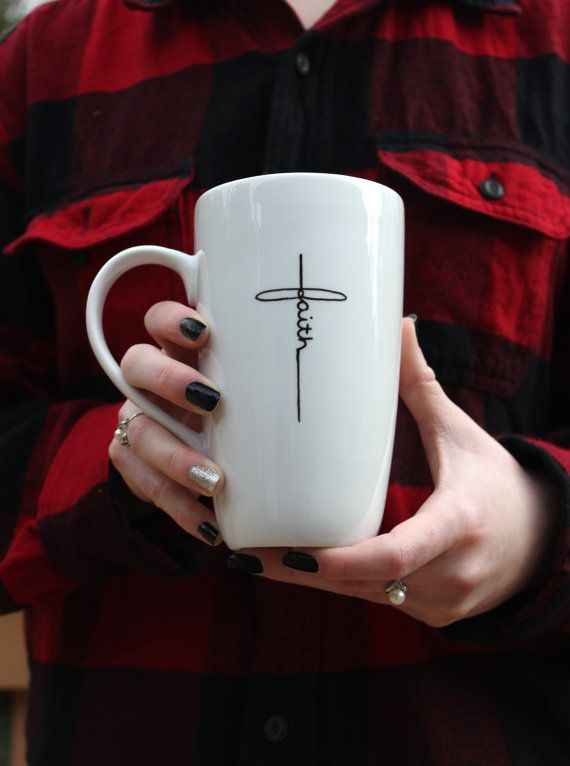 christian mug, coffee mug, latte mug, white mug, unique coffee mug, coffee lover, coffee snob, 16oz mug, faith mug, spiritual mug, scripture