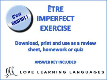 The 334 best french freebies images on pinterest french teaching if you are teaching the verb tre in the imperfect tense you can use this exercise fandeluxe Images