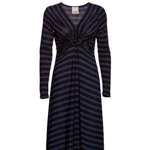 "SUST SILK - dress w knot, black/blue stripes. Beautiful and extra soft dress with a fine tie-effect at the bust. Gives you a beautiful waist. Made in in ""dead stock"", which means that it's made from residues from other collections. Because of that, the dress is limited."