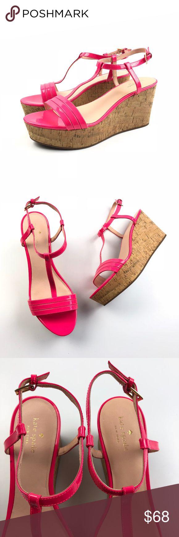 "Kate Spade Tallin Lipstick Hot Pink Wedge Sandals New without box. Kate Spade tallin cork platform wedge sandals in lipstick hot pink. Size 11 Apx: 3 1/2"" heel. 1 1/2"" platform. kate spade Shoes Platforms"