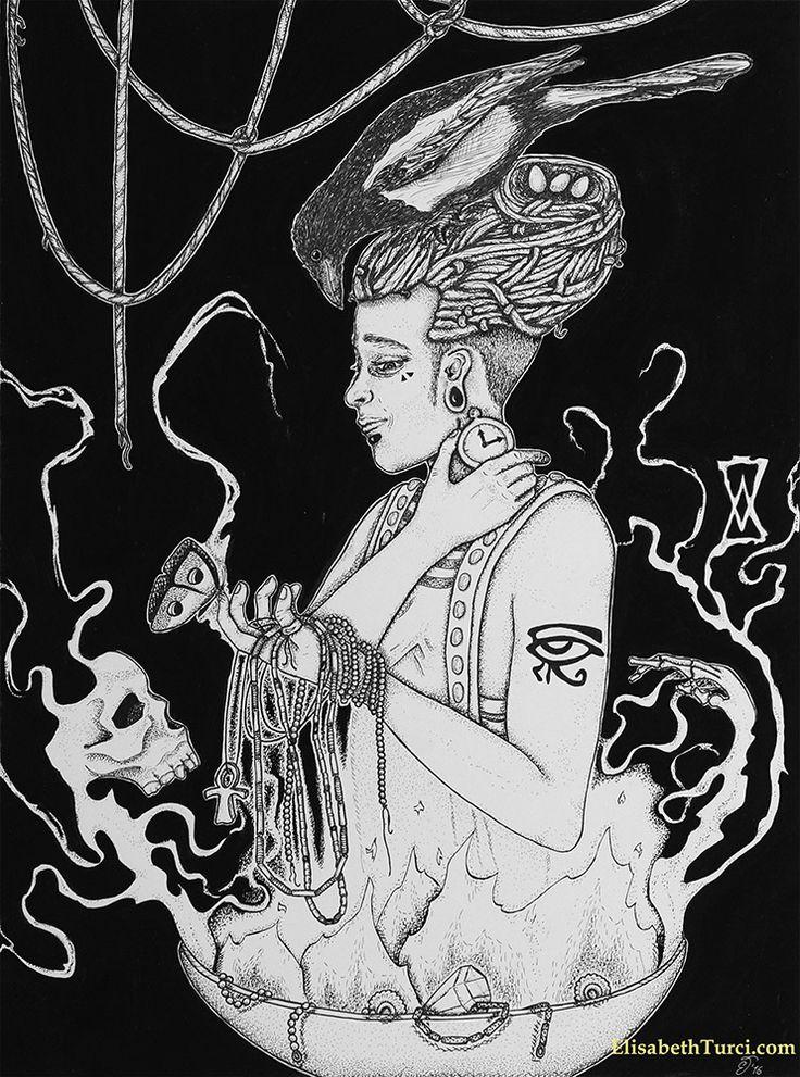 """""""Tempo"""" by Elisabeth Turci  #art #ink #inkart #inkonpaper #skull #skullartist #symbolism #alchemy #dark #gothic #darkart #magpie #nest #jewels #ankh #horuseye #horus #eye #elisabethturci"""