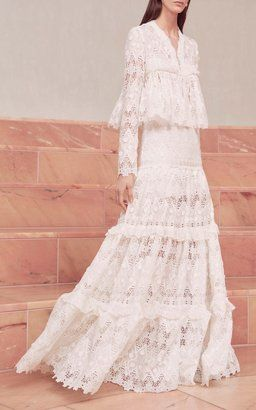 Betrice Pleated Lace Jacket with Hisa Guipure Lace Maxi Skirt by Alexis Pre-Fall 2018