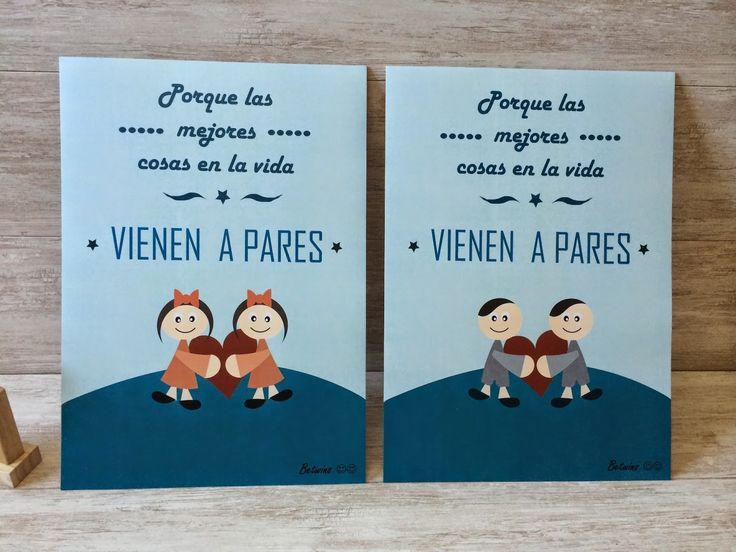 Láminas decoración bebes gemelos regalo