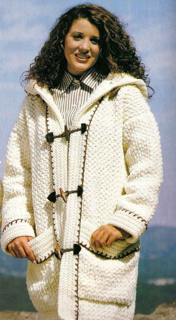 CROCHET Toggled Buttoned Down Hooded Sweater Jacket pattern,  Hooded Duffle…