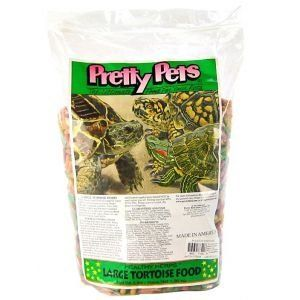 Pretty Bird large tortoise food contains 8-percent protein 3-percent fat and 13-percent fiber. Multicolored nuggets that are eagerly accepted by all types of tortoises. Available in 20-pounds....