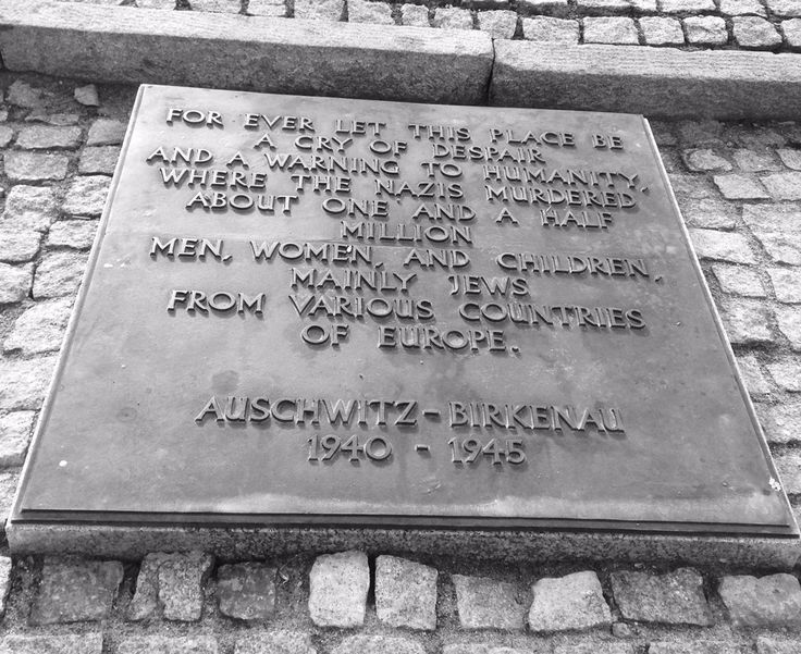 Plaque outside Birkenau camp. The camp is vast and people were shipped to the camp in their thousands by train.