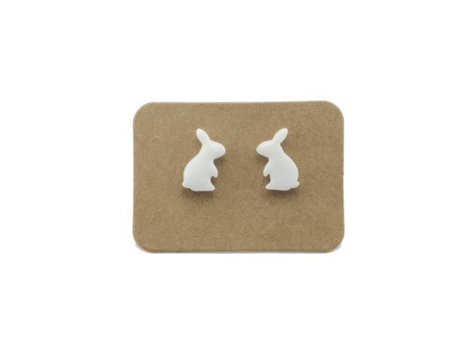 Handmade Ceramic Animal Stud Earrings - White Rabbits Bunny from Lululoft $18