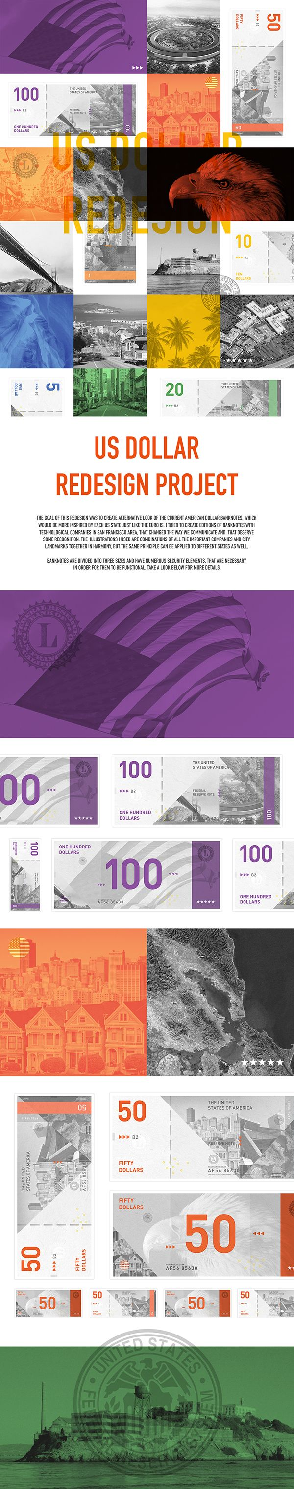 US Dollar Redesign Project I worked on as a school task, where I tried to redesign dollar banknotes. Feel free to share!