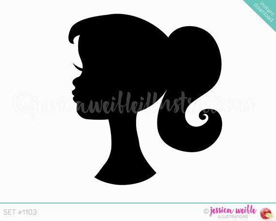Instant Download carina Ponytail ragazza sagoma digitale Clipart, carina ragazza Clip art, ragazza testa Silhouette, Pretty Girl Illustration, #1103