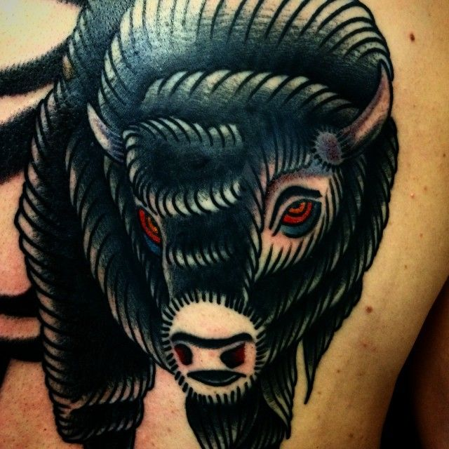 263 best american traditional tattoos images on pinterest for Traditional bison tattoo