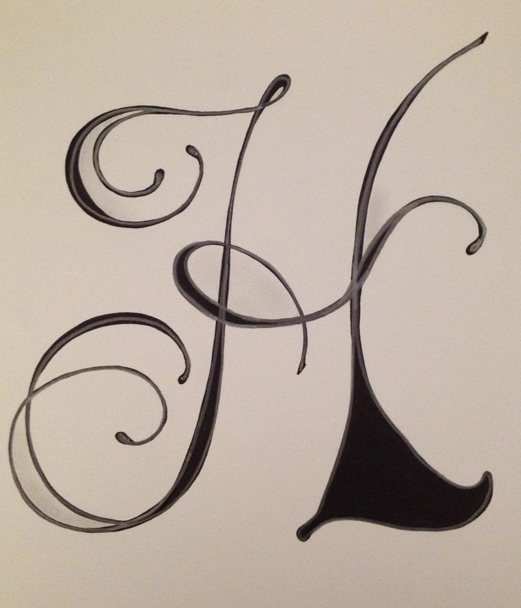 Calligraphy H Letter h by vera