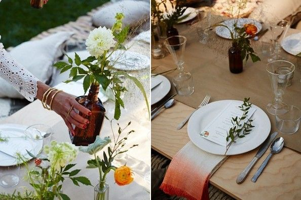 Calderone arranged ranunculus, dahlias, and wildflowers in vintage brown Cointreau bottles along the table; she custom dip-dyed open weave napkins from Serena & Lily to incorporate the sunset orange hue central to her palette.