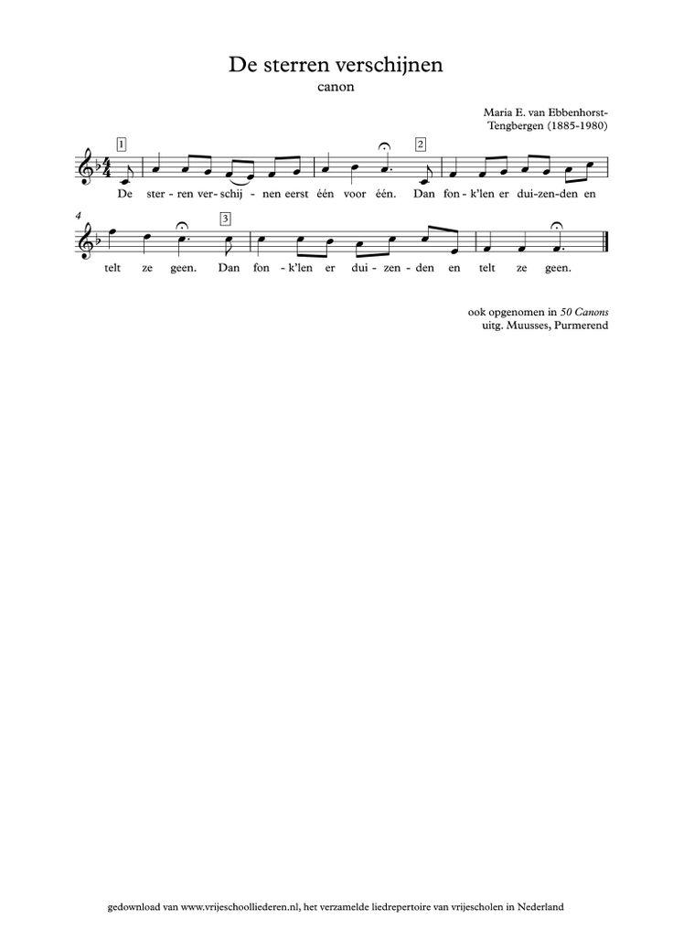 De sterren verschijnen | Vrijeschoolliederen