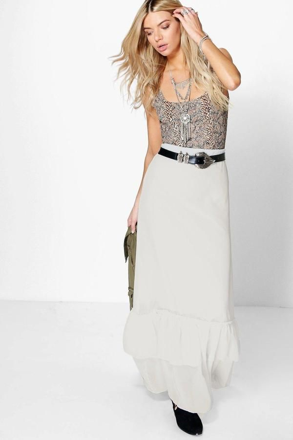 boohoo Skye Ruffle Hem Chiffon Maxi Skirt ($10)