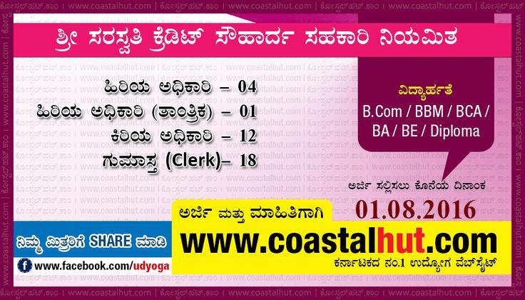 Saraswathi Credit Sowharda Sahakari Bank Recruitment 2016 – Apply Online