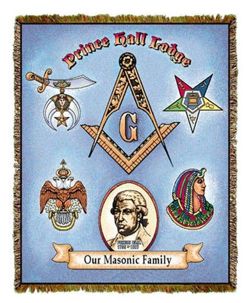A tapestry throw dedicated to and inspired by Prince Hall, Prince Hall Masonry and its appendant bodies.