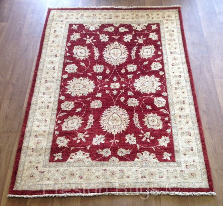 Afghan Ziegler Hand Knotted Traditional Wool Rug Red 130 X 176 Cm 4