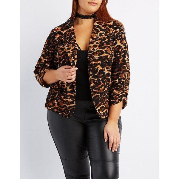 Charlotte Russe Leopard Print Blazer ($38) ❤ liked on Polyvore featuring plus size women's fashion, plus size clothing, plus size outerwear, plus size jackets, plus size blazers, classic leopar, 3/4 sleeve jacket, boyfriend blazer, plus size blazer jacket and plus size boyfriend blazer