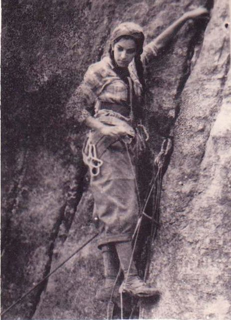 Early lady climber. For all you females who are throwing it down in the climbing and mountaineering community.